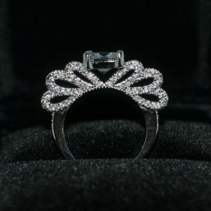 S925 silver filled white sapphire bow ring